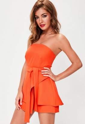 Missguided Orange Bandeau Tie Waist Skort Romper
