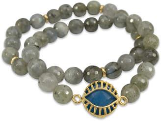 Electric Picks Labradorite & Blue Jade All Eyes On Me Bracelets (Set of 2)