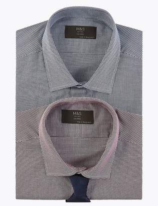 Marks and Spencer 2 Pack Cotton Blend Tailored Shirts with Tie