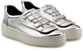Sergio Rossi Metallic Leather Platform Sneakers