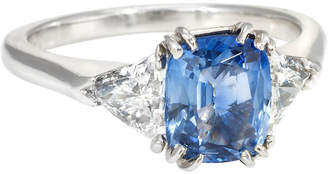 One Kings Lane Vintage Cushion Cut Sapphire Diamond Ring - Precious & Rare Pieces