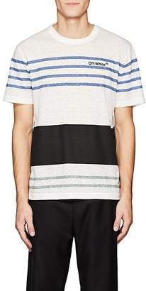 Off-White Men's Logo Mixed-Stripe Linen-Blend T-Shirt