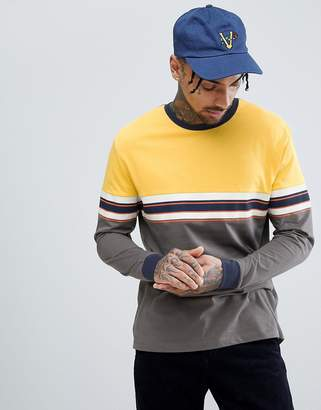 Asos DESIGN relaxed long sleeve t-shirt with chest stripe