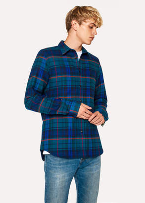 Paul Smith Men's Tailored-Fit Navy And Petrol Blue Check Cotton Shirt