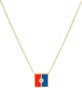 K Kane Code Flag Square Diamond Pendant Necklace - E