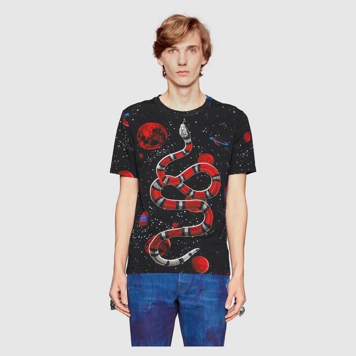 Cotton tie-dye t-shirt with Gucci print 6