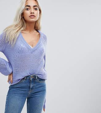 Vero Moda Petite V Neck Sweater With Balloon Sleeve