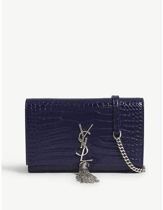 Saint Laurent Monogram Kate crocodile-embossed leather wallet-on-chain