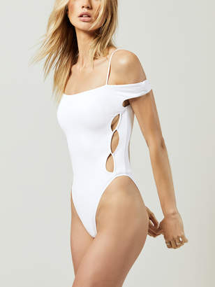 Off The Shoulder One Piece With Circular Cutouts A