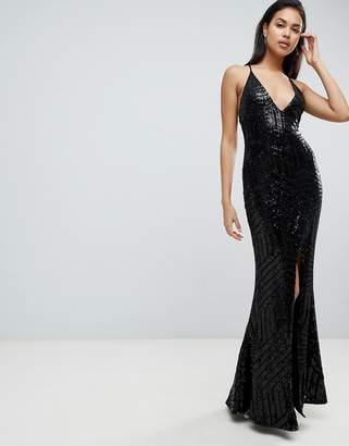Club L Cami Strap All Over Glitter Maxi Dress