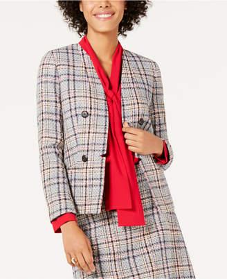 Bar III Tweed Collarless Jacket
