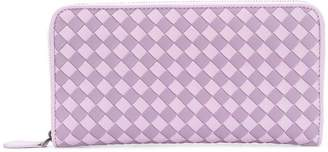 Bottega Veneta parme lilac Intrecciato palio zip-around wallet