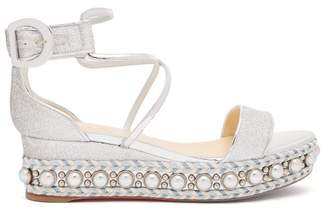 Christian Louboutin Chocazeppa 50 Metallic Leather Flatform Sandals - Womens - Silver