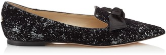 Jimmy Choo GABIE FLAT Anthracite Velvet Glitter Devore and Black Satin Pointy Toe Flats
