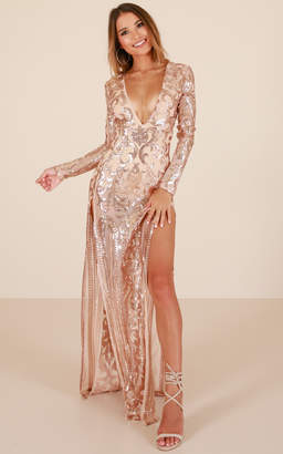 Showpo The Best Option maxi dress in rose gold sequin