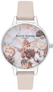 Olivia Burton Marble Florals Silvertone and Leather Strap Watch