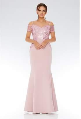 Quiz Mauve Cold Shoulder Sequin Embellished Maxi Dress