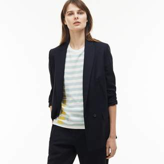 Lacoste Women's Straight Cut Buttoned Wool Pique Jacket