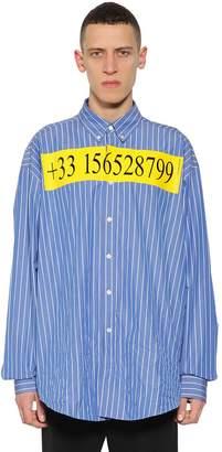 Balenciaga Oversized Hot Line Striped Cotton Shirt