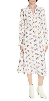 BA&SH Floral Print Midi Shirtdress