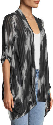 Neiman Marcus Abstract-Print Draped Mesh Cardigan