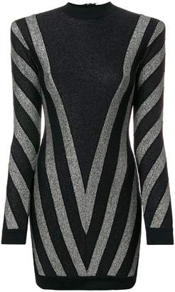 Balmain lurex chevron turtleneck mini dress