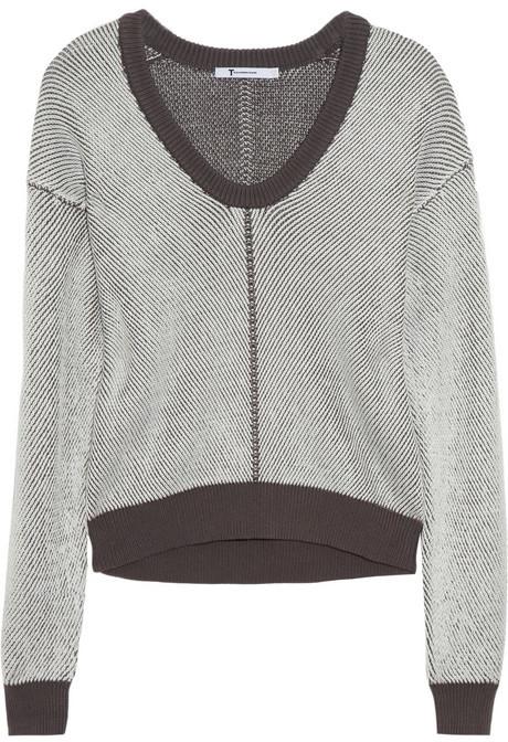 Alexander Wang Knitted stretch cotton-blend sweater