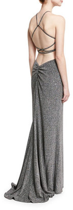 La Femme Sleeveless Cross-Back Metallic Column Gown, Silver $295 thestylecure.com