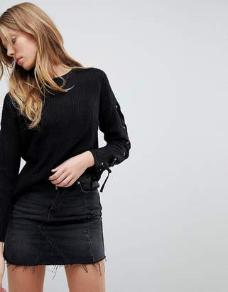 Brave Soul Sweater With Eyelet And Ring Sleeve Detail