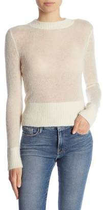 Frame Crop Crew Neck Long Sleeve Sweater