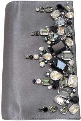 Prada Grey Silk Clutch Bag