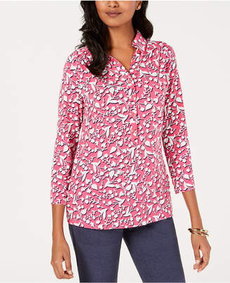 Charter Club Petite Floral-Print Collared Shirt