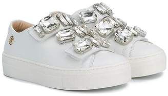 Miss Blumarine crystal touch strap sneakers