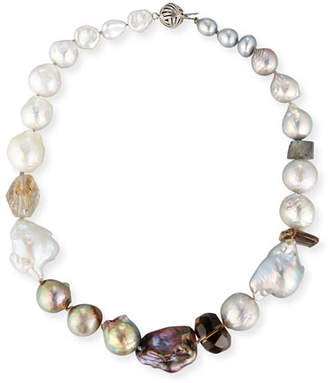 Stephen Dweck Baroque Pearl & Smoky Quartz Necklace