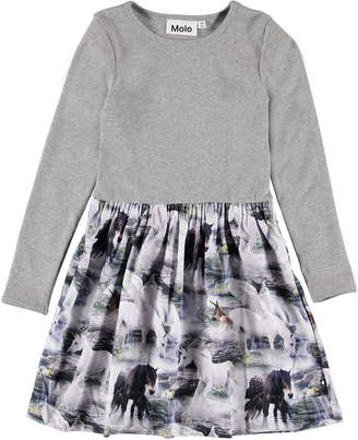 Molo Girl's Credence Long-Sleeve Ribbed Dress w/ Horse Print Skirt, Size 2T-12