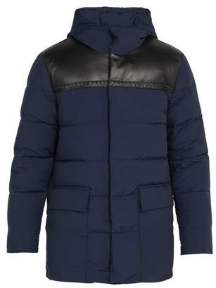 Bottega Veneta Leather Panel Wool Blend Down Jacket - Mens - Navy
