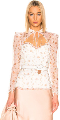 Brock Collection Floral Bustier Long Sleeve Top in Open White | FWRD