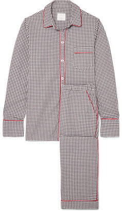 Three J NYC Halle Checked Cotton-flannel Pajama Set - Gray