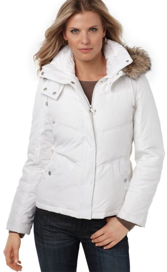 Kenneth Cole Reaction Jacket, Hooded Short Puffer with Faux Fur Trim