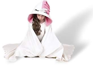Sworn Unicorn Hooded Blanket Kids | Wearable Pink White Plush Throw Blanket Wrap | Soft