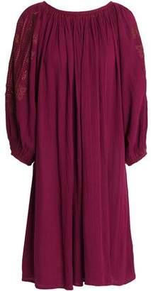 Antik Batik Embroidered Gathered Cotton-Crepe Dress