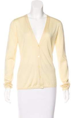 Miu Miu Long Sleeve V-Neck Cardigan