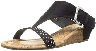 Rampage Women's Sheryl Demi Wedge T-Bar Slip-On Thong Sandal