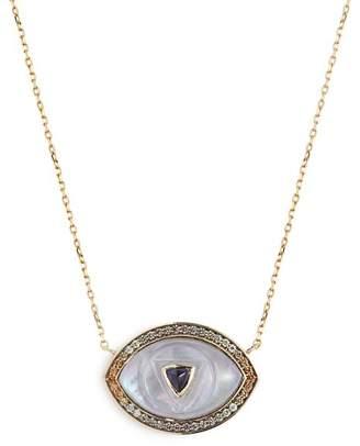 Noor Fares - Ajna 18kt Gold, Sapphire, & Diamond Pendant - Womens - Blue