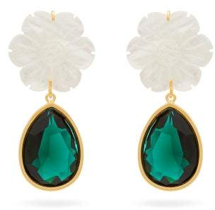 Lizzie Fortunato Lily Pad Crystal Drop Earrings - Womens - Green