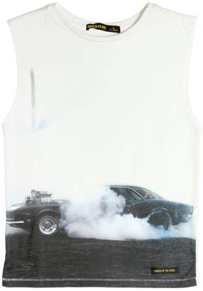 Finger In The Nose Sleeveless Car Printed Cotton T-Shirt