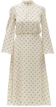 Valentino Logo Print Tie Neck Silk Dress - Womens - Ivory Multi