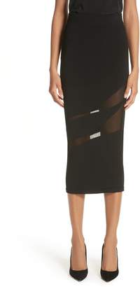 Cushnie et Ochs Sheer Inset Pencil Skirt