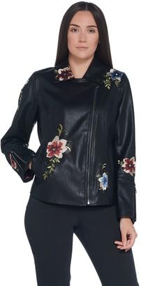 Dennis Basso Madison Avenue Faux Leather Embroidered Moto Jacket