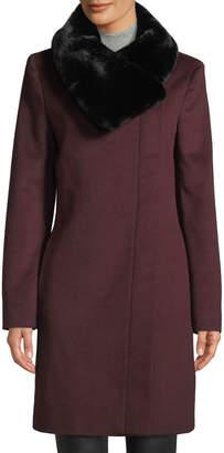 Donna Karan Faux-Fur Collar Wool Jacket